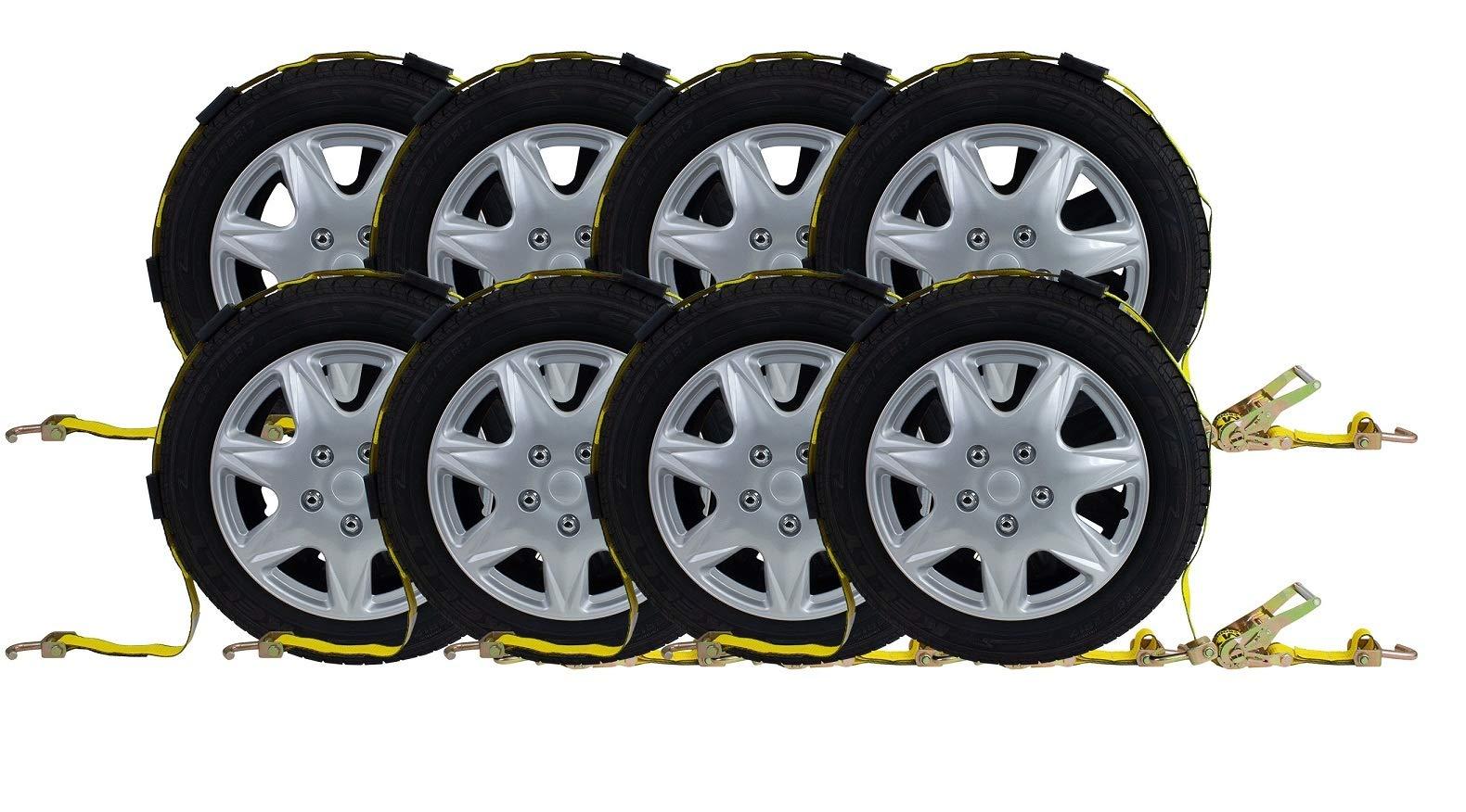 2''x9' Ratchet Tire Wheel Strap Over The Tire Auto Hauler Tie Down Straps (8- Pack w/Swivel J Hooks)