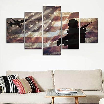 Amazon.com: Canvas Prints Wall Art, Flag of USA/Stars and Stripes ...