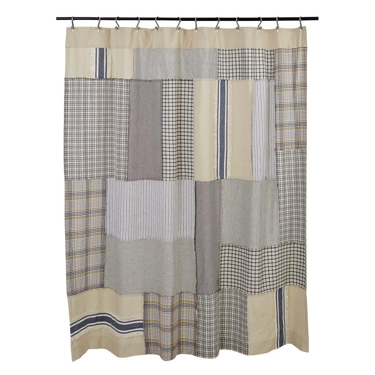 Piper Classics Mill Creek Patch Shower Curtain, 72 x 72, Farmhouse Style