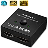 HDMI Switch, Aibocn Bidireccional HDMI Switch 4K 2x1 Soporta 4K 3D 1080P para BLU-Ray/TV/Xbox / PS4 / PS3 / DVD, Color Negro