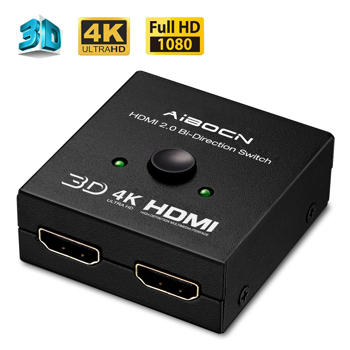AIBOCN 4K HDMI Switch Splitter, 2 Ports Bi-direction Manual Switch Supports 4K 3D HD 1080P for PS4, Xbox, Roku 3, Blu-Ray player, HDTV etc