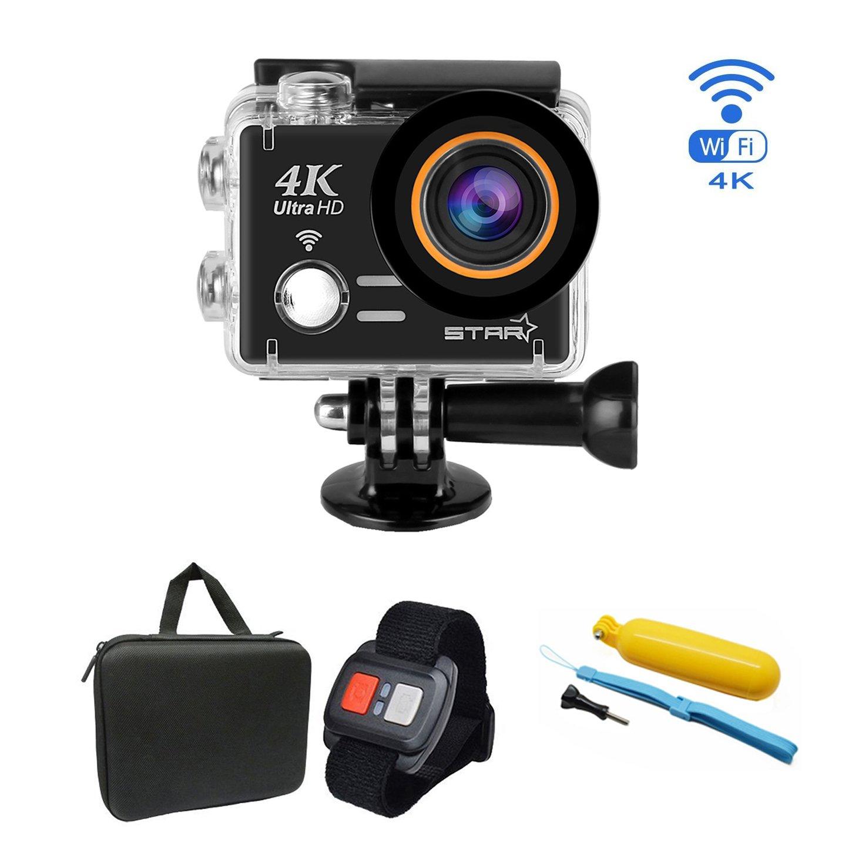 ESTGOUK [Black Friday] Star Sports Action Camera 12MP Ultra HD 4K Action Cam Wasserdichte Action Kamera Helmkamera mit Transporttasche und Zubehör Kit