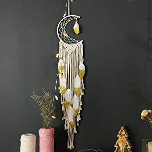 Moon Dream Catcher Wall Decor, Natural Cotton Bohemian Dream Catchers for Bedroom Wall Hanging, Handmade Crescent Shape Dreamcatchers, Gold Feather Hanging Ornament for Home Decoration Festival Gift