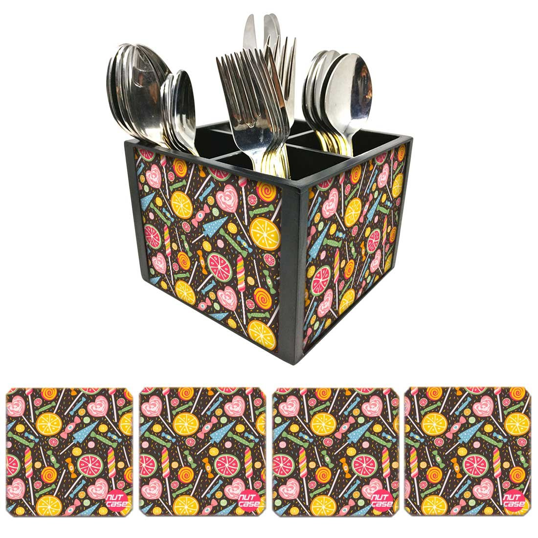 Nutcase Designer FlatwareカトラリースタンドホルダーSilverware caddy-spoonsフォークナイフOrganizer with Matchingメタルコースター – レモンとキャンディ   B07DC897BY