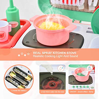 Buy Shawe Kids Kitchen Playset Toys 30 Pieces Pretend Play Chef Cooking Kitchen Set Portable Basket Toy With Musics Lights Spray Play Foods Sink Pretend Play Oven Kitchen Accessories Toys For Boys Girls Online In Turkey B08bhpbvz3