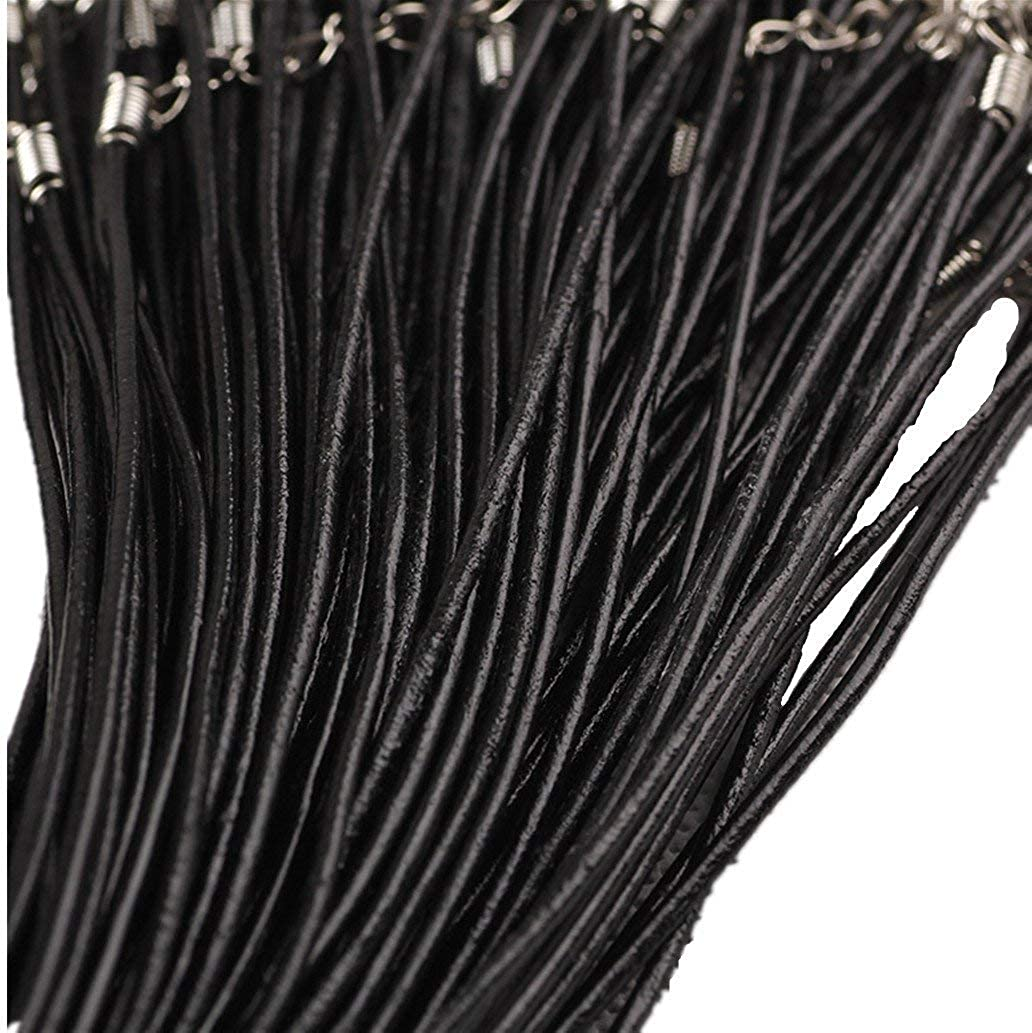Black, 50Pcs Wbang 18 Genuine Leather Round Necklace Cord Rope Necklace Chain with Lobster Claw Clasp