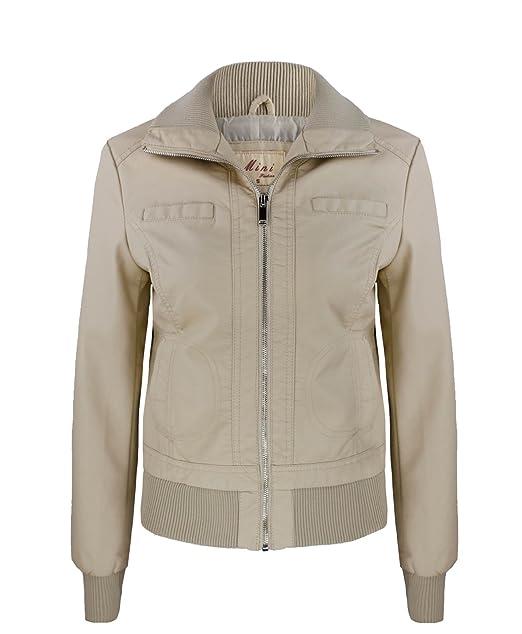 cheap for discount 74570 21232 Donna Morbida Ecopelle Giacca Bomber Motociclista Cerniera ...