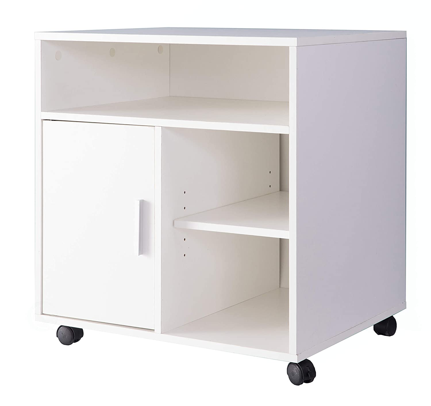 Printer Kitchen Office Storage Stand with Casters White
