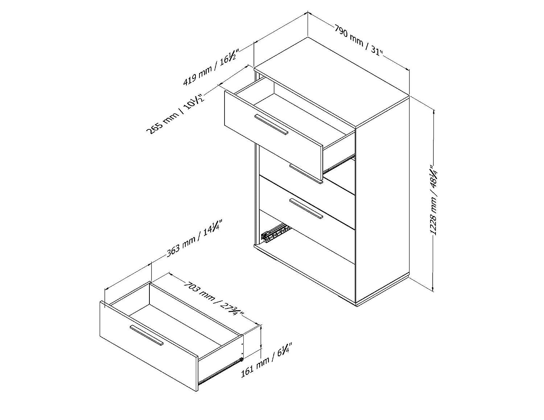 Amazon.com: Mikka 5 cajones – Negro Roble: Kitchen & Dining