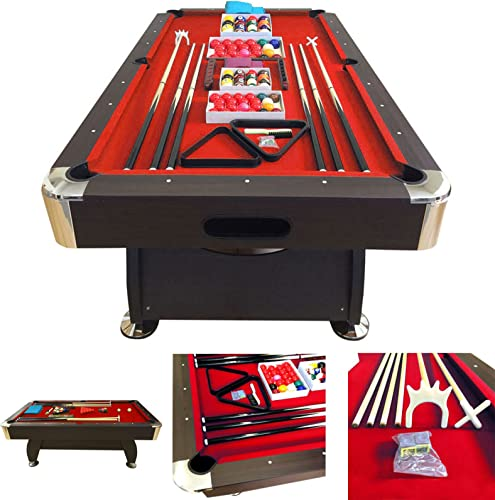 SIMBASHOPPING USA 8 Feet Billiard Pool Table with Automatic Ball Return System on The Short Side Snooker Full Set Accessories Game mod. Vintage Red 8
