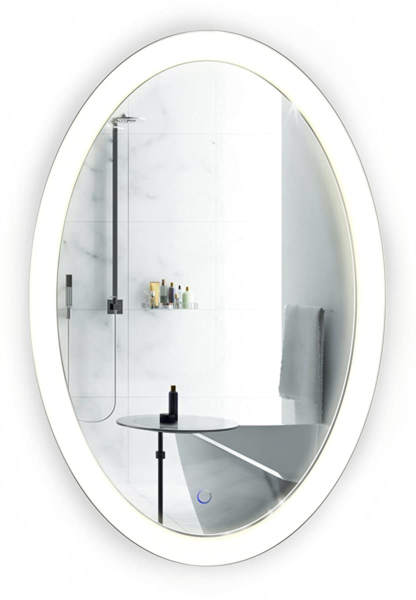 Krugg Oval LED Bathroom Mirror 20 Inch x 30 Inch | Lighted Vanity Mirror Includes Dimmer & Defogger | | Wall Mount Vertical or Horizontal Installation |
