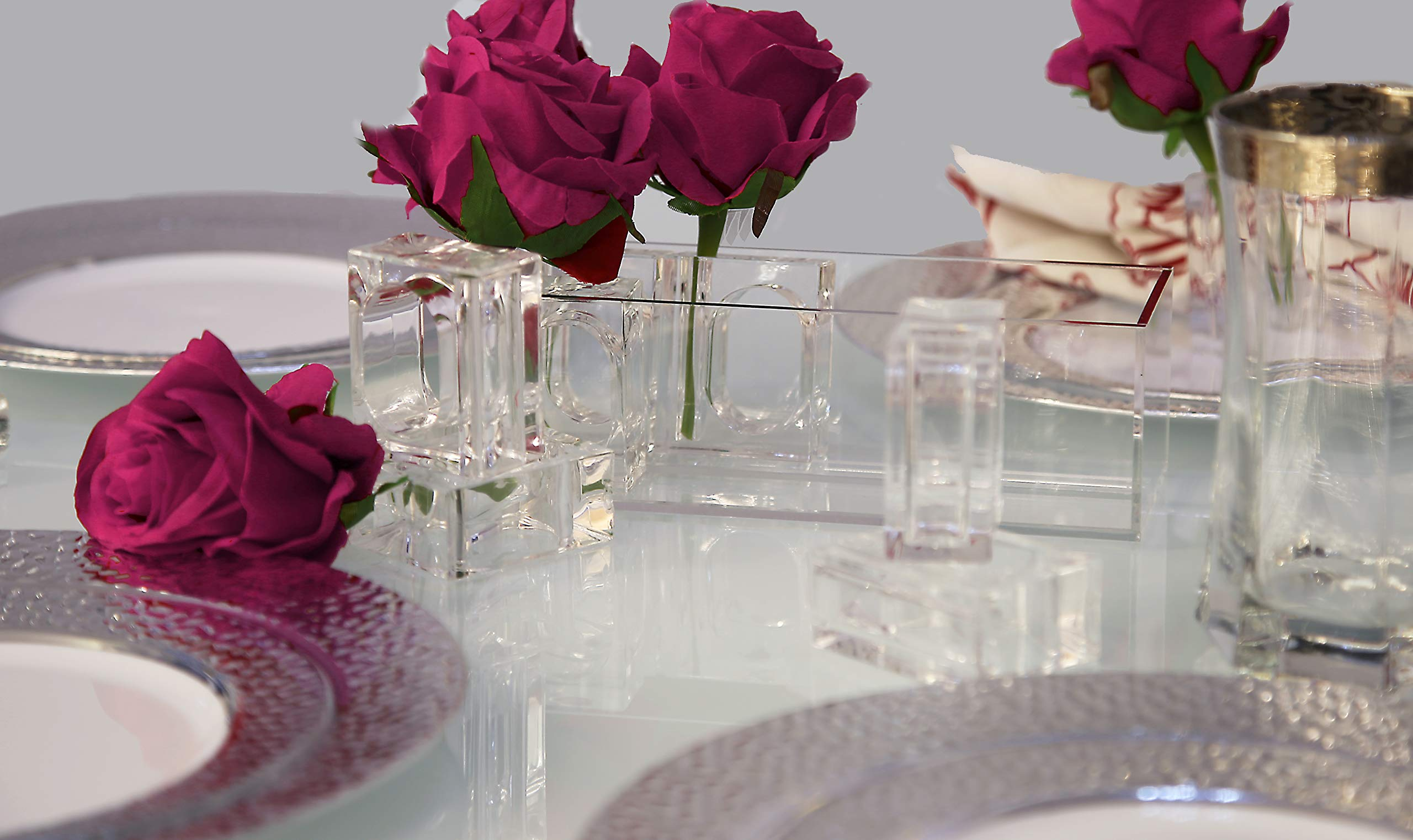 Deco-Mate Acrylic Napkin Rings Bud Vase Flower Holder - Clear - Table Décor, 2-in 1 (Bulk Set) Wholesale (24) by Deco-Mate