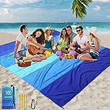 "WIWIGO Beach Blanket, Sandproof Beach Mat 79"" X 83"" for 4-7 Adults Waterproof Quick Drying Outdoor Picnic Mat for Travel, Cam"