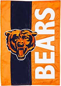 Team Sports America NFL Chicago Bears Embroidered Logo Applique Garden Flag, 12.5 x 18 inches Indoor Outdoor Double Sided Decor for Football Fans