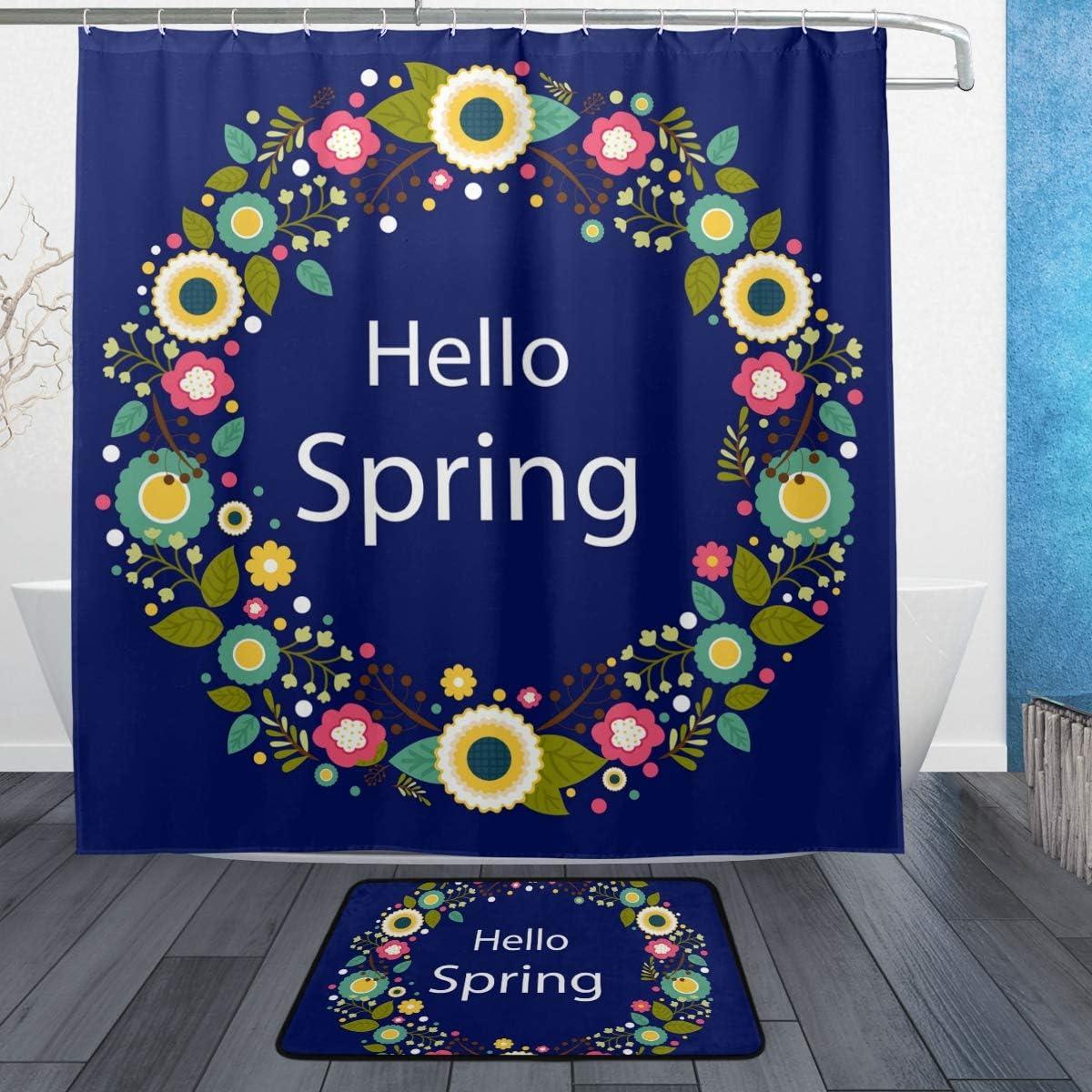 Amazon.com: LORVIES Spring Floral Wreath Bathroom Set, Polyester