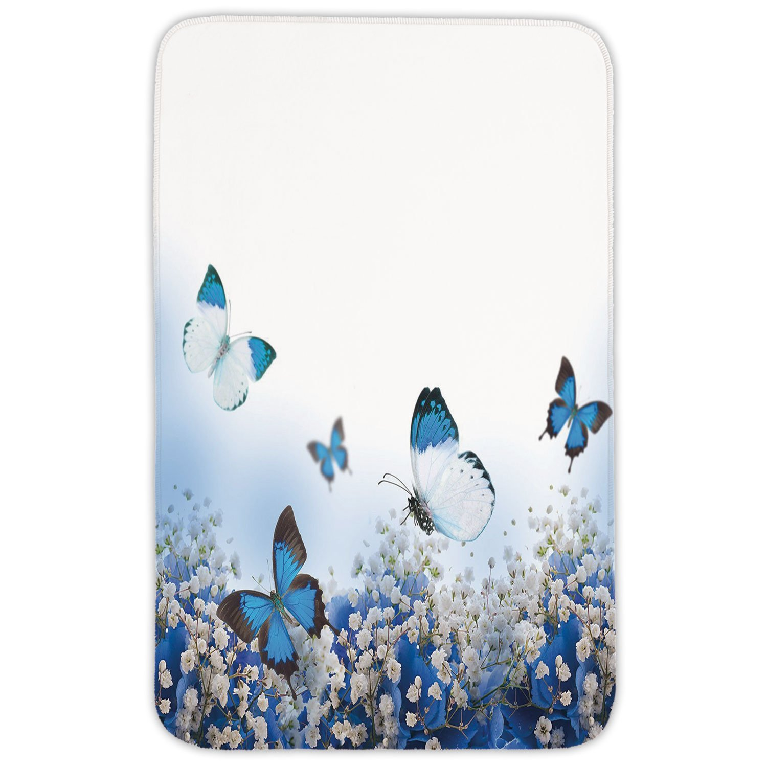 Rectangular Area Rug Mat Rug,Light Blue,Blue Hydrangeas and Butterflies Rural Scenery Freshness Spring Yard Garden Decorative,Blue Black White,Home Decor Mat with Non Slip Backing