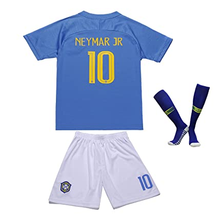 9e1153fa1 EGS FWC 2018 Brazil  10 NEYMAR JR. Away Kids Soccer Jersey   Shorts Socks