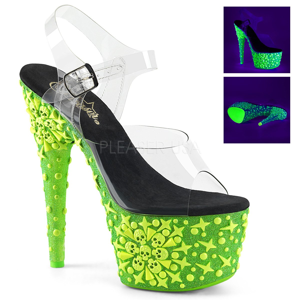 PLEASER womens ADORE-708NSK/C/GRN Sandals B074G4GLK7 9 B(M) US
