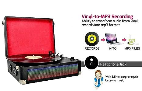 DIGITNOW Tocadiscos Bluetooth LED Multicolor para Vinly con Altavoces Estéreo Duales, Luces LED Cambiables, Función de Grabación de Vinilo a MP3, ...