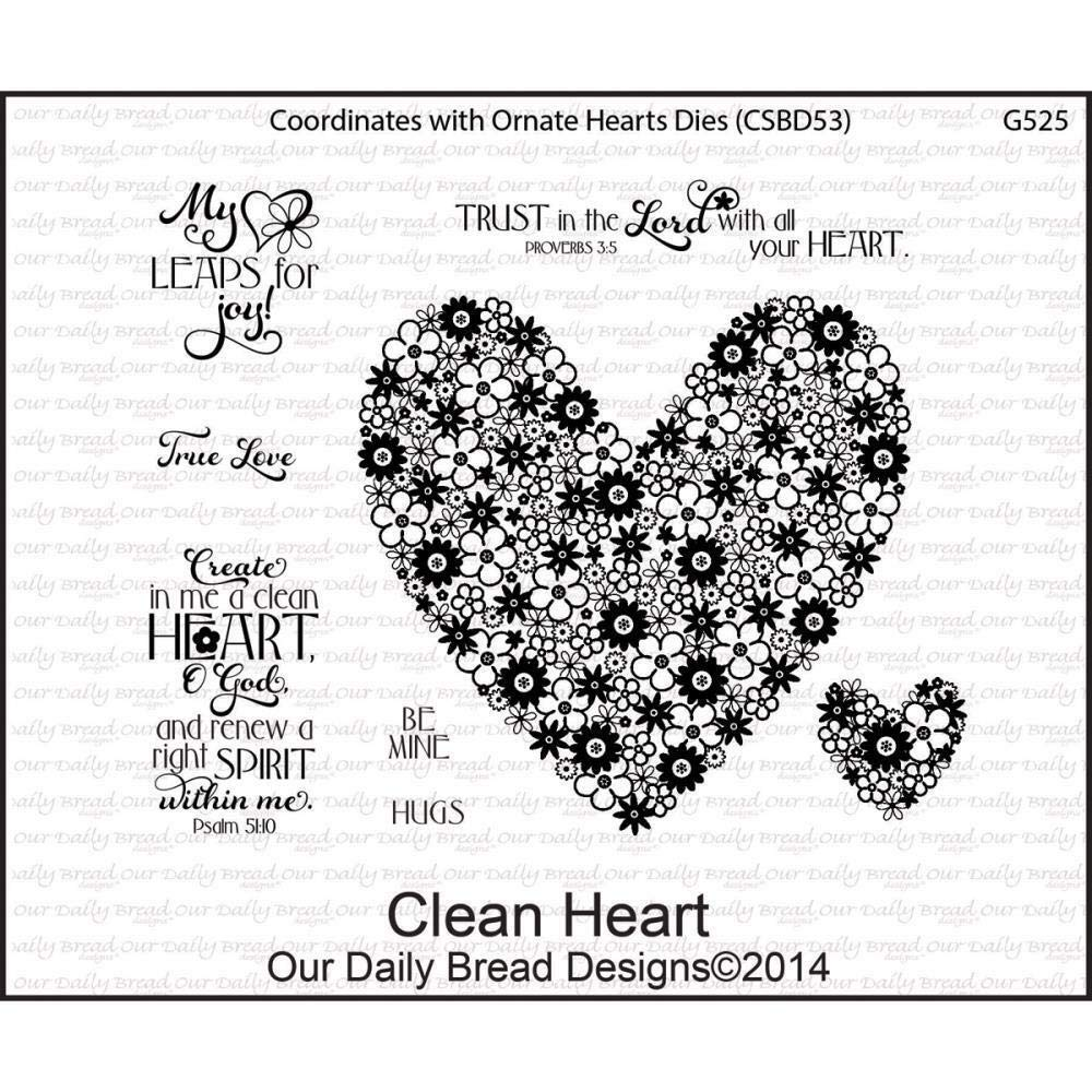 ShopForAllYou Stamping & Embossing Clean Heart Cling Stamp Collection Our Bread New Love Flower Christian Art