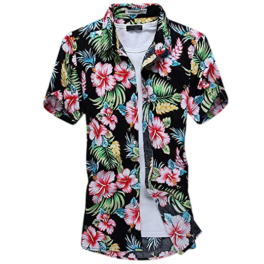 Honghu Mens Flower Print Casual Button Down Short Sleeve Shirt at Amazon Mens Clothing store: