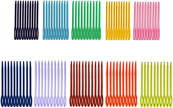 iFergoo 3.5 Colorful Large Eye Crafts Needles and 2.75Kids Safety Learning Needles for DIY Sewing Handmade Crafts 200pcs in 10 Colors Kid Weave Education 200pcs Plastic Sewing Needles
