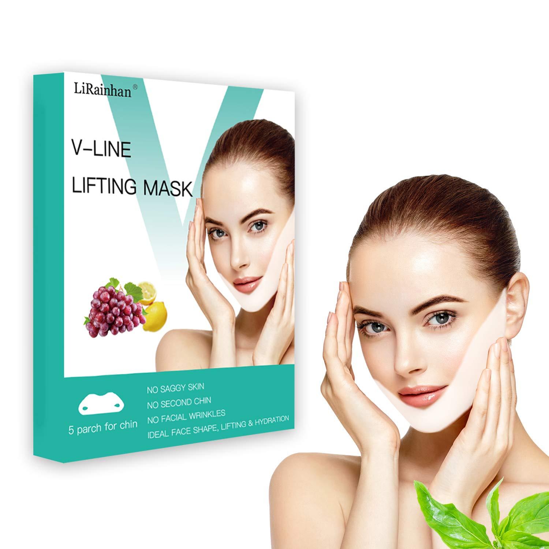 V Line Face Mask Neck Mask Chin Up Patch Face Lift Double Chin Reducer V-Line Face Lifting Brand Contour Tightening Firming Moisturizing V Shape Chin Mask Neck Lift 5pcs by LiRainhan