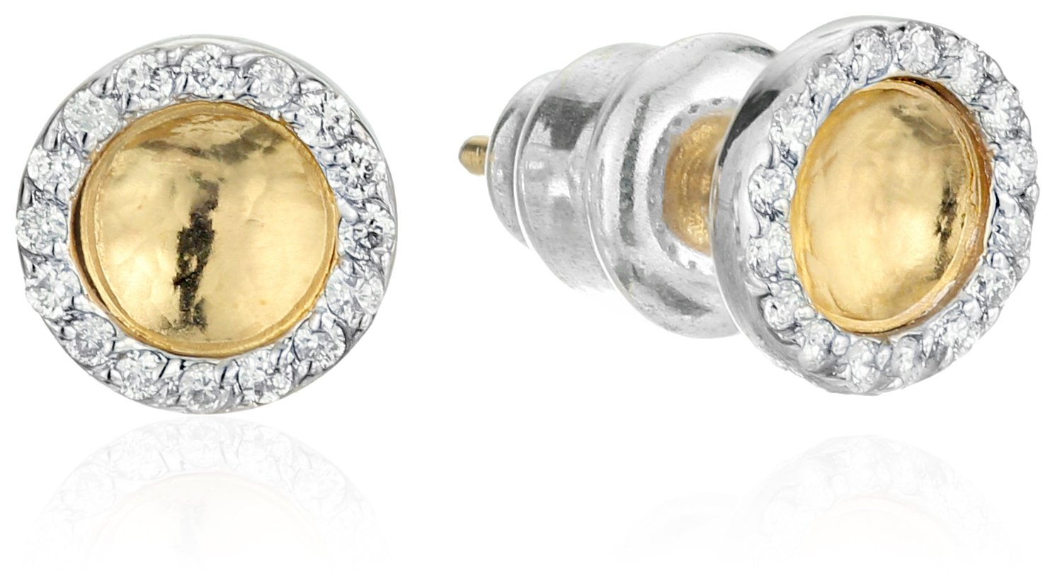GURHAN Hourglass Diamond Gold Small Round Diamond Pave Stud Earrings