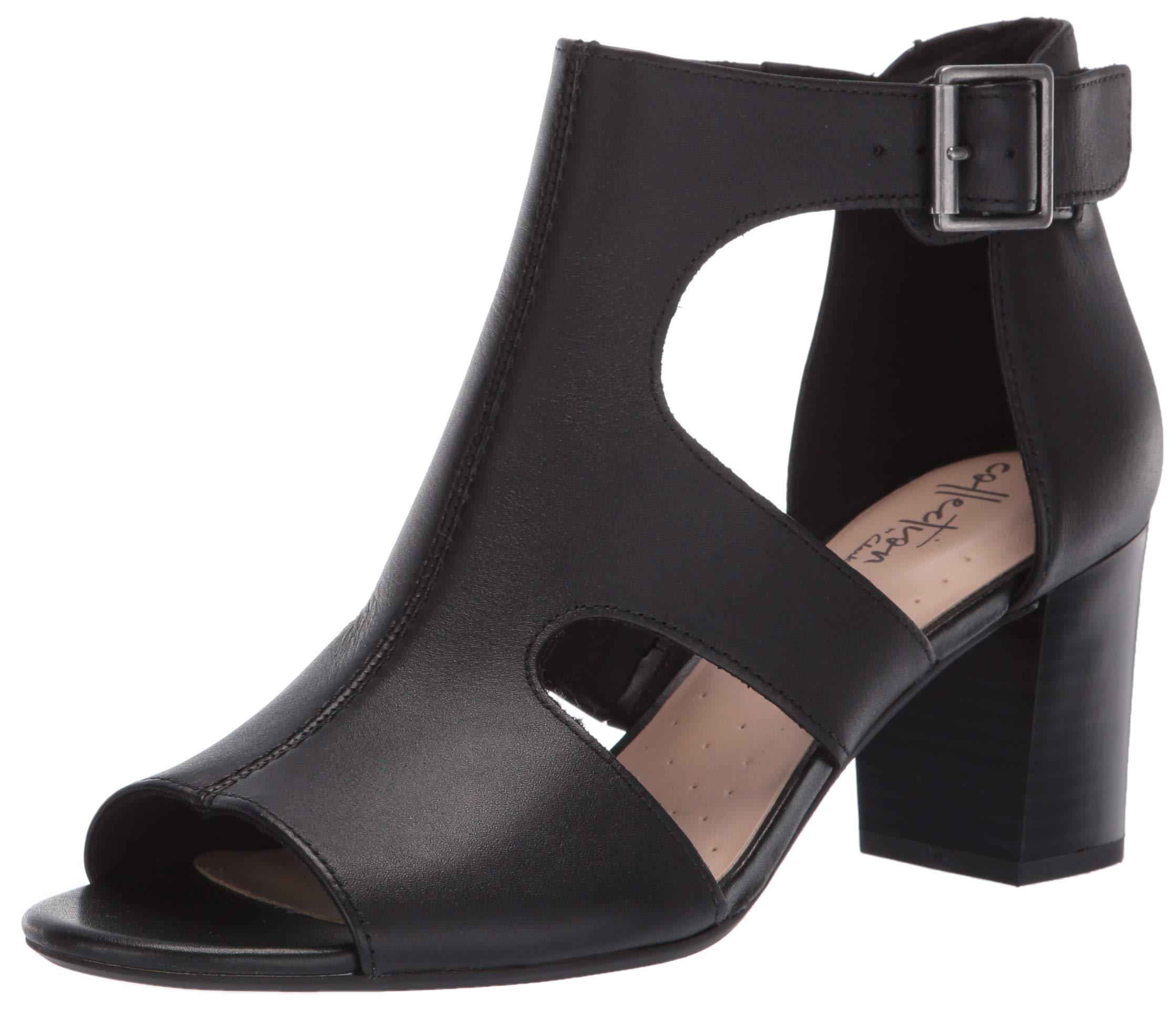 CLARKS Women's Deva Heidi Heeled Sandal, Black Leather, 085 M US by CLARKS