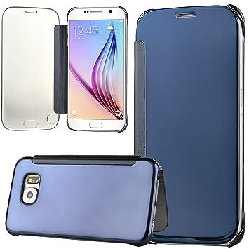 WeLoveCase Funda Tapa Samsung S6 Espejo Carcasas Galaxy S6 Rígido Fundas Moviles PC Dura Cubierta Protección Flip Cover Folio Case Resistente Piel ...