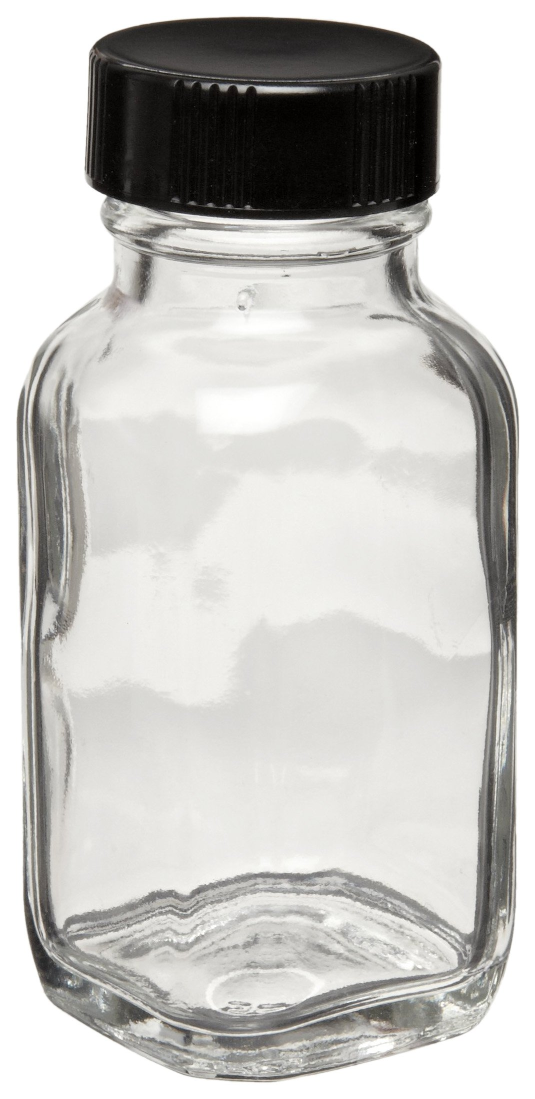Wheaton W216891 French Square Bottle, Clear Glass, Capacity 2oz With 28-400 Black Phenolic Poly-Seal Lined Screw Cap, Diameter 39mm x 87mm (Case Of 48)