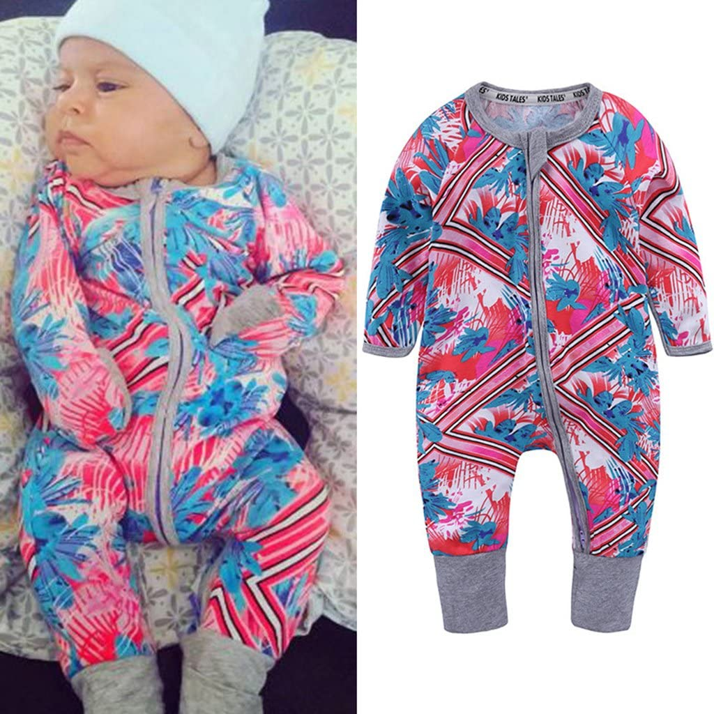 3-6 Months Vine Baby Girls Rompers Sleepsuit Cotton Pajamas Onesies Jumpsuit Zipper Outfits