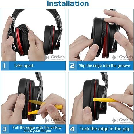 Geekria QuickFit Protein Leather Almohadillas para Auriculares Sony MDR-1ABT, MDR-1RBT, MDR-1RNC, Almohadillas de Repuesto para los oídos, ...