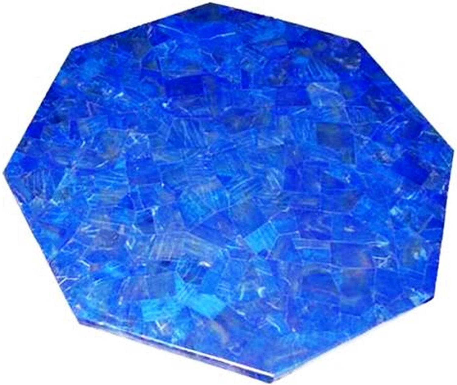 15 Inches Blue Marble Patio Side Table,Coffee Table Top Mosaic Art Lapis Lazuli with Random Work