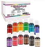 12 Color Cake Food Coloring Liqua-Gel Decorating Baking Set - U.S. Cake Supply .75 fl. Oz. (20ml) Bottles Primary Popular Colors