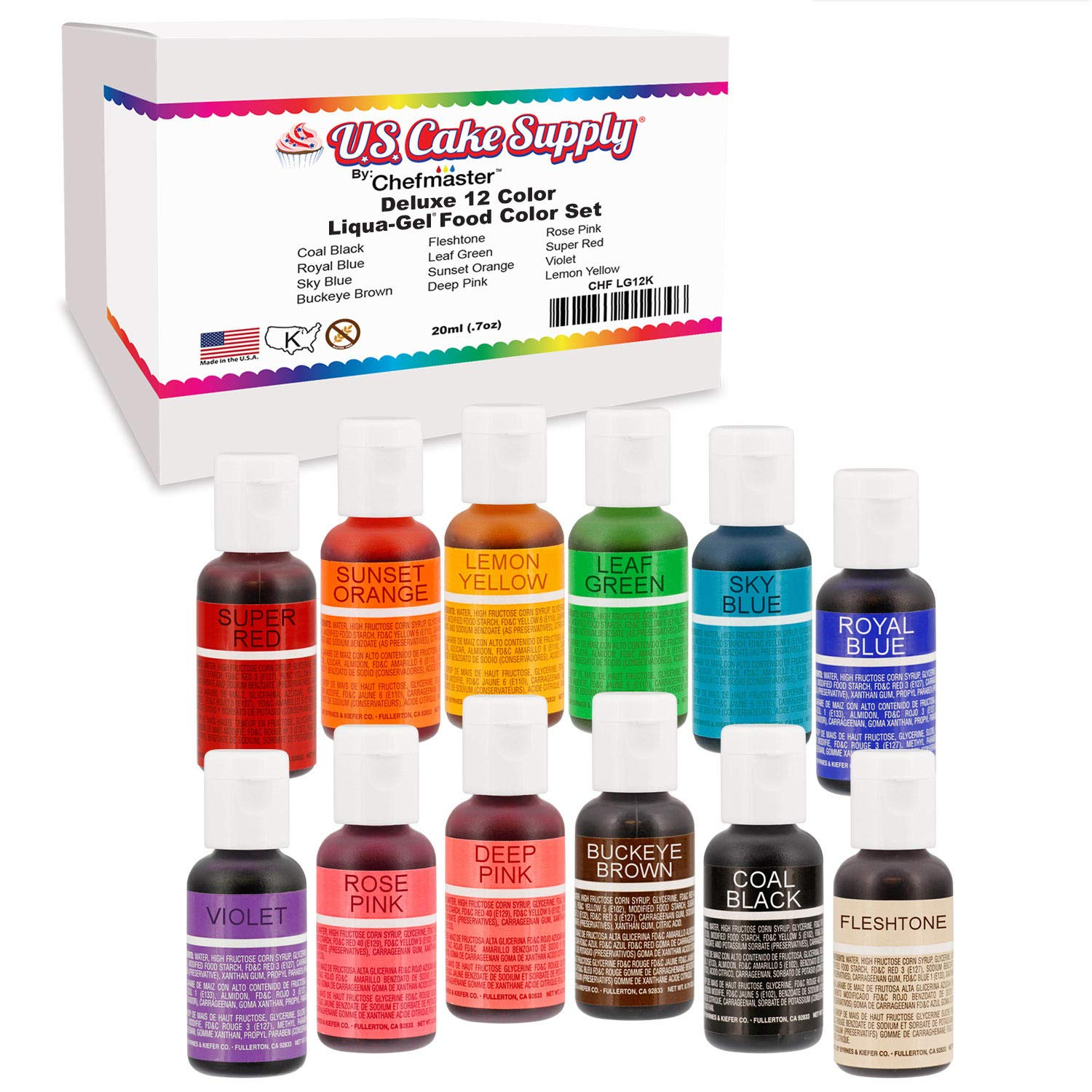 Made in the U.S.A. -12 Color Cake Food Coloring Liqua-Gel Decorating Baking Set - U.S. Cake Supply .75 fl. Oz. (20ml) Bottles Primary Popular Colors - Made in the U.S.A. Vegan & Kosher