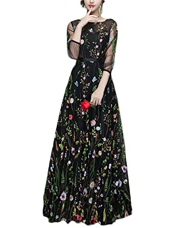 JoJoBridal Womens Long Floral Prom Evening Dresses Formal Sleeves Black Size 2