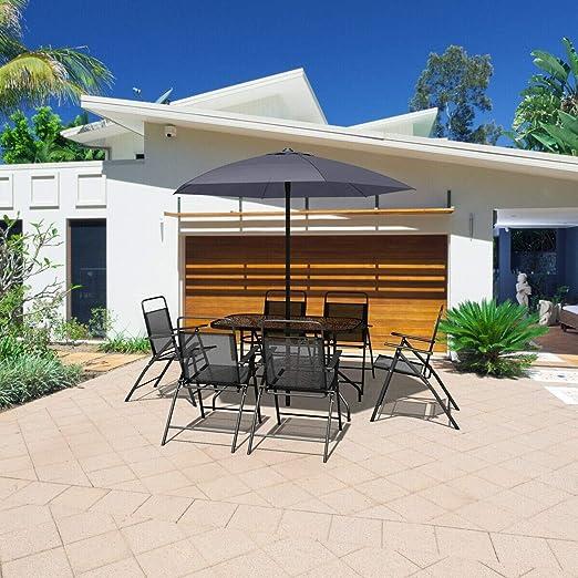 USA_Best_Seller - Juego de Muebles de jardín de 8 Piezas para Exteriores, Moderno, Cuadrados, Plegables, con Paraguas, Color Gris, útil para balcón, café, bistró y Muebles de conversación: Amazon.es: Jardín