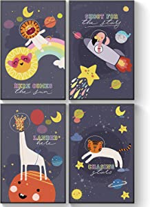 Pillow & Toast Baby Wall Art Nursery Decor 11by 17inches Space Posters for Boys Room, Little Astronaut Children Wall Art, Kids Room Decor, Moon Stars Baby Room Decor