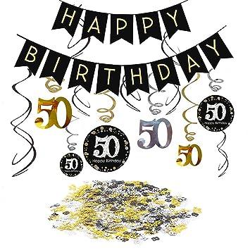 SIMUER 50 cumpleaños Negro Colgar Remolino decoración de ...