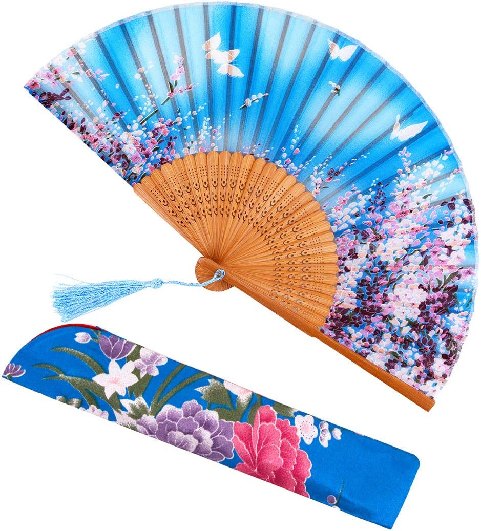 meifan Chinese Japanese Women Hand Held Folding Fans with Bamboo Frame Green