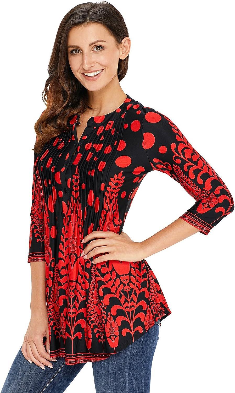 Aleumdr Donna T Shirt Camicetta con Bottoni Blusa Manica 3//4 Floreale Maglietta Maniche Lunghe Donna Elegante Tunica Donna