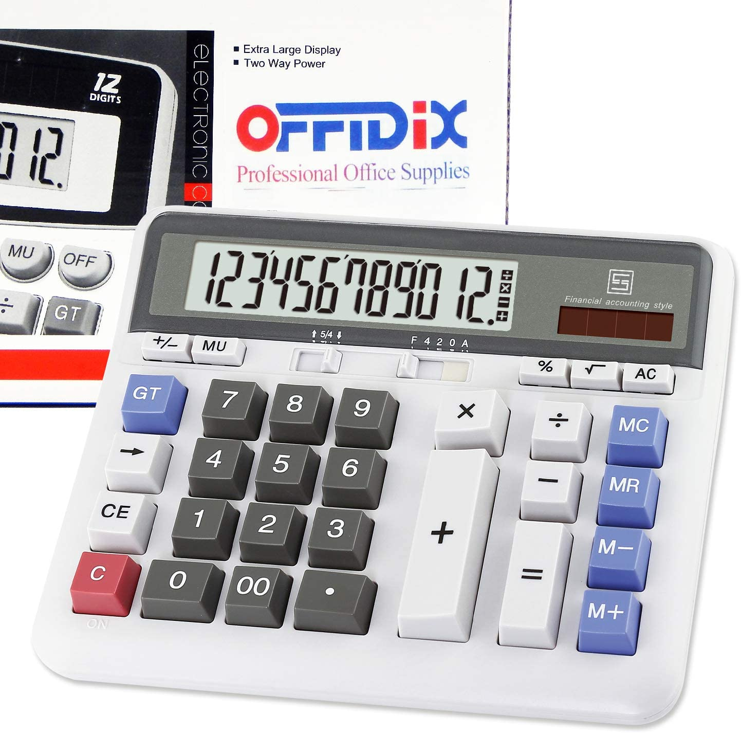 OFFIDIX Office Computer Key Electronic Calculator, Financial Calculators for Bank Stuff and Accouter, Financial Accounting Style 12-Digit Display with Battery and Solar Desktop Calculator Fathers' Day