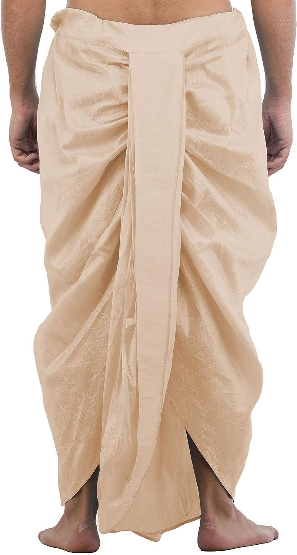 Maenner-Dhoti-Dupion-Silk-Plain-handgefertigt-fuer-Pooja-Casual-Hochzeit-Wear Indexbild 5