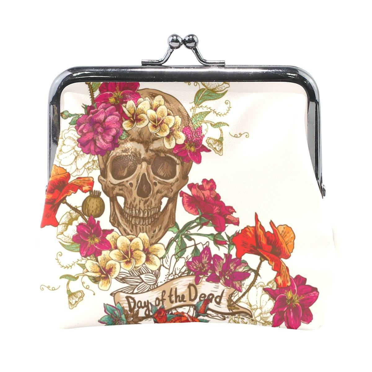 Vipsk mom gift ideas Gothic Beautiful Skull PU Leather Wallet Card Holder Coin Purse Clutch Handbag OneSize