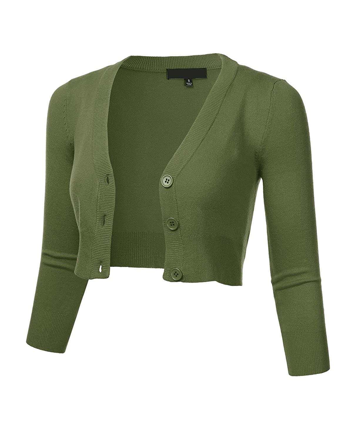 S-4X FLORIA Womens Solid Button Down 3//4 Sleeve Cropped Bolero Cardigan Sweater