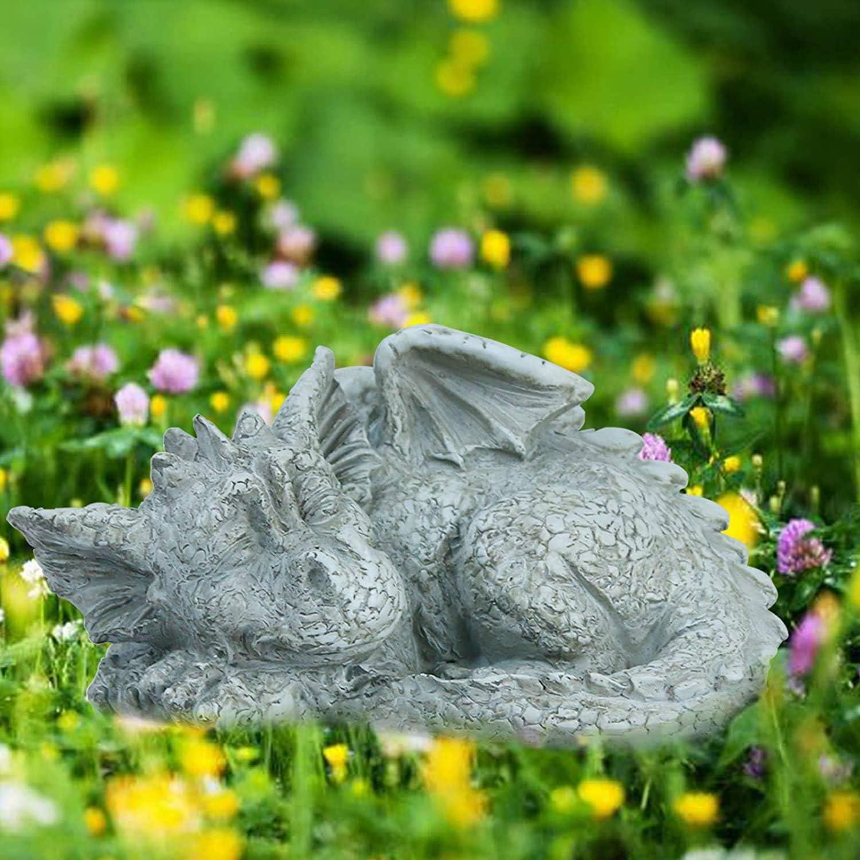 AIYIXUE Dragon Garden Statues Whimsical Gargoyle Decorations for Outside Resin Adorable Baby Sleeping Dinosaur Animals Outdoor Statues Sculptures Spring Decor for Home