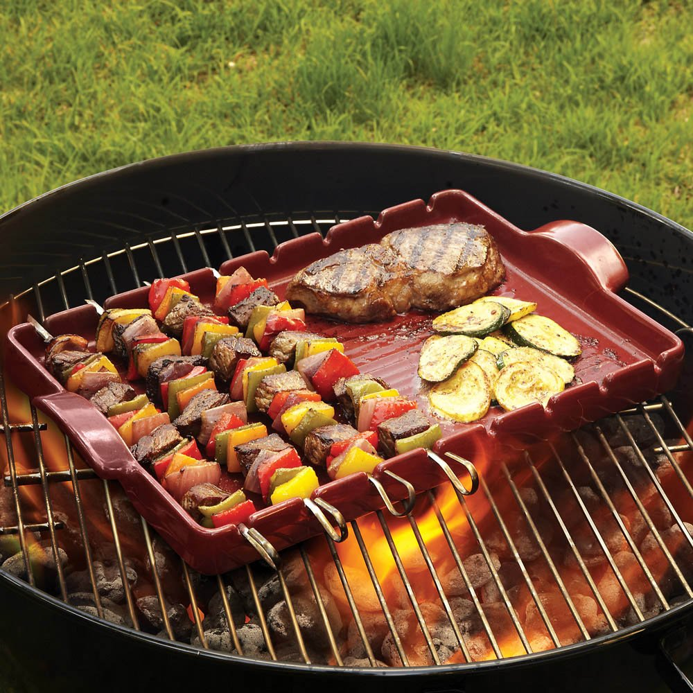 Emile Henry Made In France Flame BBQ Kabob Grilling Stone and Skewers Charcoal 16.5 x 9.8 797542 16.5 x 9.8