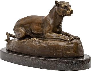 Bronzeskulptur Puma Raubkatze im Antik-Stil Bronze Figur Statue 30cm