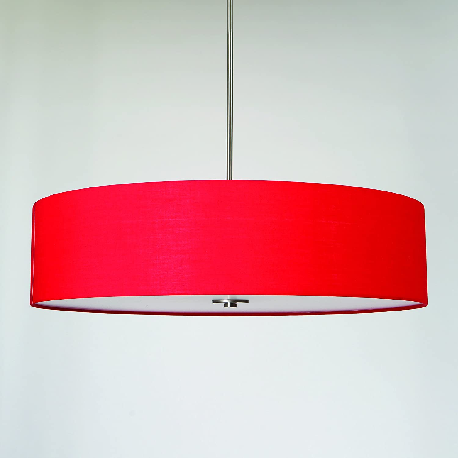 Yosemite Home Decor SH3007-5P-CPRS Lyell Forks Family 5-Light Satin Steel Pendant with Chili Pepper Red Drum Shade, Red